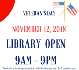 Library hours for Veterans Day 2018